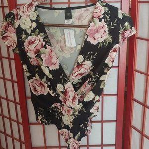 Windsor Black Rose Wrapped Floral Bodysuit